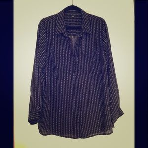 Patterned button up blouse NWOT